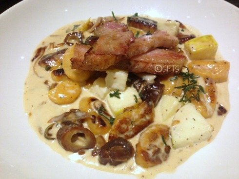Sweet Potato Gnocchi w/ confit pork belly, apples, dates, sage, and a brown butter cream sauce
