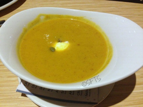 Roasted Butternut Squash Soup w/ Toasted Pumpkin Seeds, Creme Fraiche, & Carmelized Apples