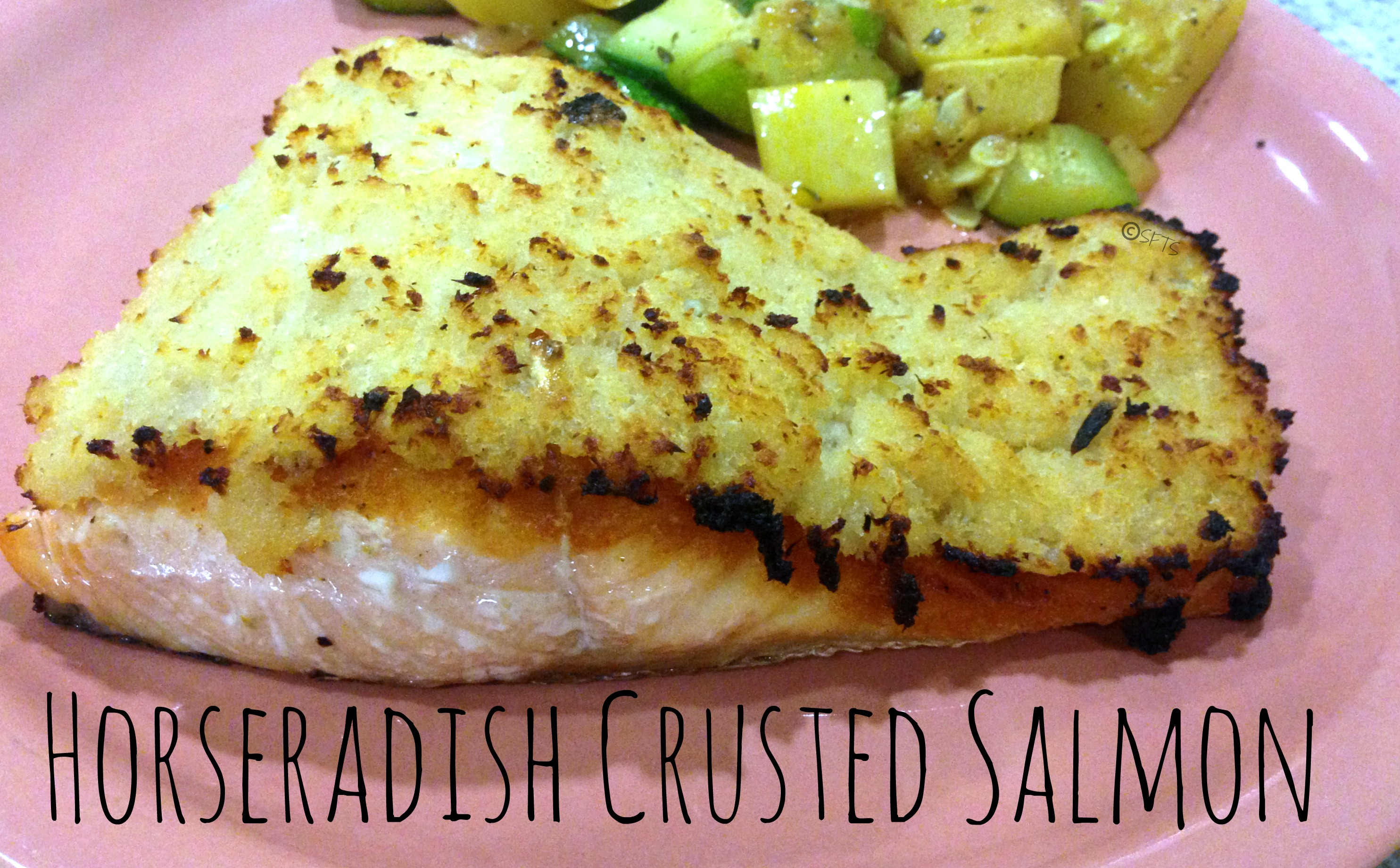 Salmon Fillets with Horseradish Crust Cucumbers and