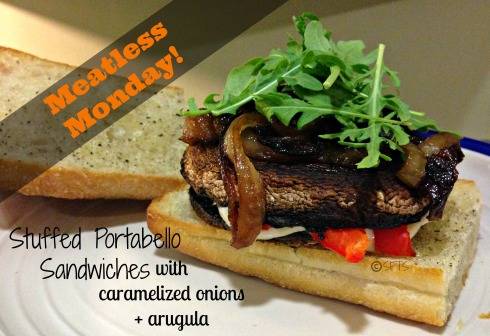 Meatless-Monday-1-Stuffed-Portabello-Sandwiches-Caramelized-Onion-Arugula