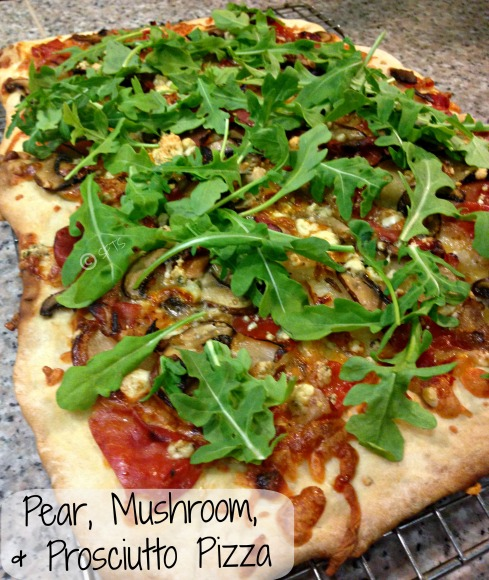 Pear-Mushroom-Prosciutto-Arugula-Blue-Cheese-Pizza