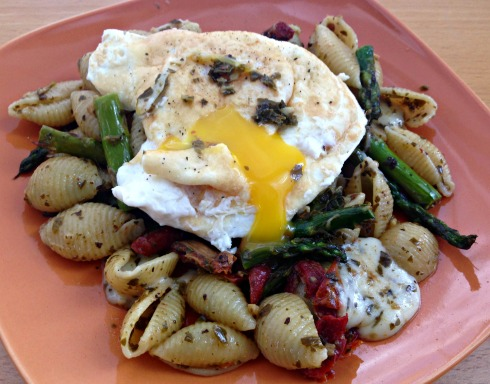 Pasta Sundried Tomato Asparagus Pesto Fried Egg